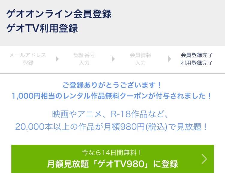 ゲオTV980申し込み手続き